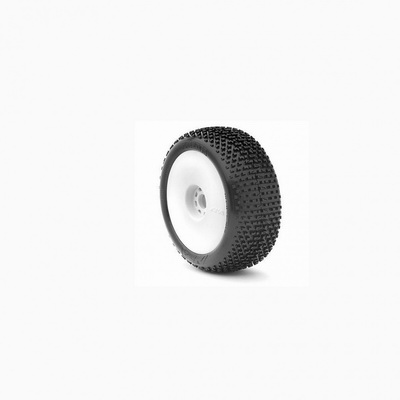 AKA Racing I-Beam 1/8 Buggy Tires (2) (Pre-Mounted) (White) (Medium - Long Wear)