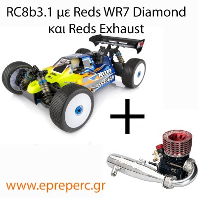 Associated RC8b3.1 and Reds WR7 Diamond and Reds Exhaust